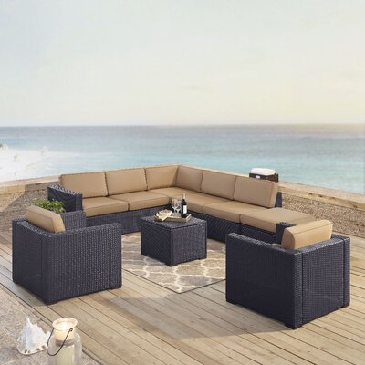 Dinah 8 Person Outdoor Wicker 7 Piece Sectional Seating Group with Cushion Fabric: Mocha