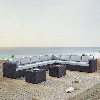 Dinah 8 Person Outdoor Wicker 6 Piece Sectional Seating Group with Cushion Fabric: Mist