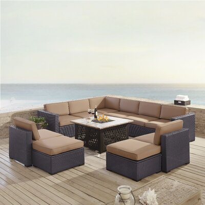 Dinah 10 Person Outdoor Wicker 8 Piece Sectional Seating Group with Cushion Fabric: Mocha