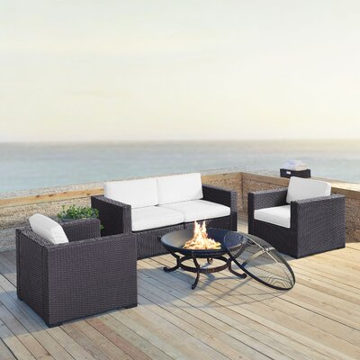 Dinah 4 Person Outdoor Wicker 5 Piece Steel Framed Deep Seating Group with Cushion Fabric: White