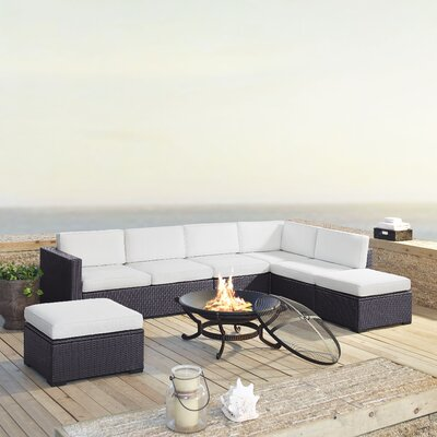 Dinah 7 Person Outdoor Wicker 6 Piece Deep Seating Group with Cushion Fabric: White