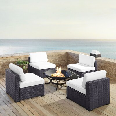 Dinah Outdoor Wicker 5 Piece Deep Seating Group with Cushions Fabric: White