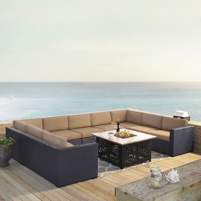 Dinah 9 Person Outdoor Wicker 6 Piece Sectional Seating Group with Cushion Fabric: Mocha