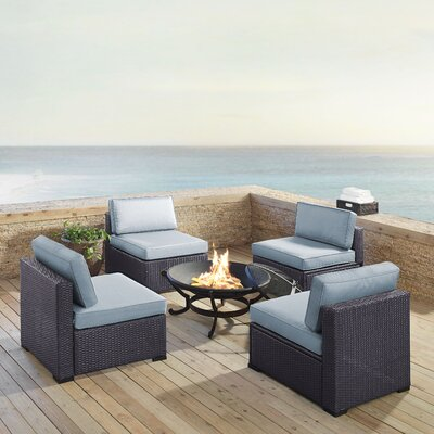Dinah Outdoor Wicker 5 Piece Deep Seating Group with Cushions Fabric: Mist