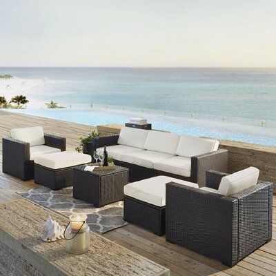 Dinah Outdoor Wicker 7 Piece Sectional Seating Group with Cushions Fabric: White