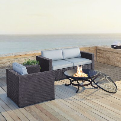 Dinah 3 Person Outdoor Wicker 4 Piece Deep Seating Group with Cushion Fabric: Mist