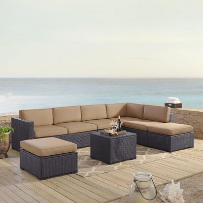 Dinah 7 Person Outdoor Wicker 6 Piece Sectional Seating Group with Cushion Fabric: Mocha