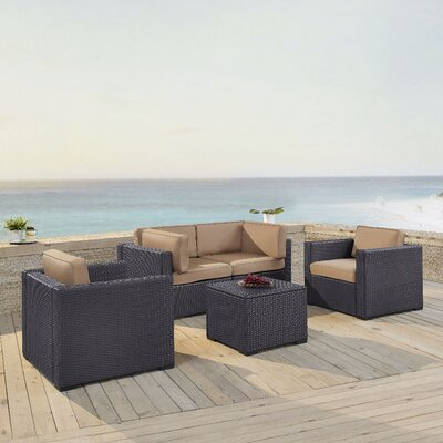 Dinah 4 Person Outdoor Wicker 5 Piece Sectional Seating Group with Cushion Fabric: Mocha