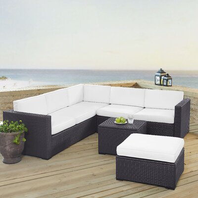 Dinah 6 Person Outdoor Wicker 5 Piece Sectional Seating Group with Cushion Fabric: White