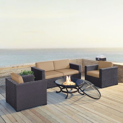 Dinah 4 Person Outdoor Wicker 5 Piece Steel Framed Deep Seating Group with Cushion Fabric: Mocha