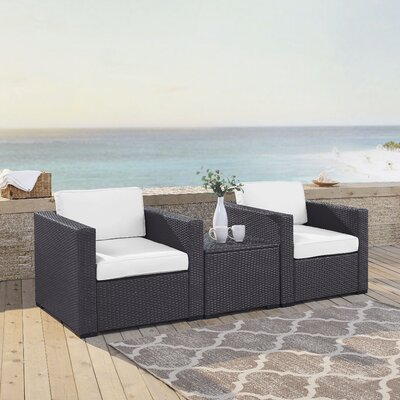 Dinah 2 Person Outdoor Wicker 3 Piece Deep Seating Group with Cushion Fabric: White