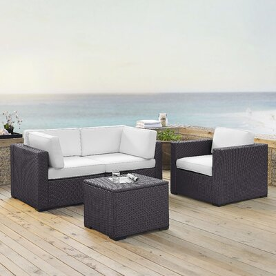 Dinah 3 Person Outdoor Wicker 4 Piece Sectional Seating Group with Cushion Fabric: White