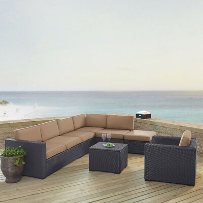 Dinah 7 Person Outdoor Wicker 6 Piece Steel Framed Sectional Seating Group with Cushion Fabric: Mocha