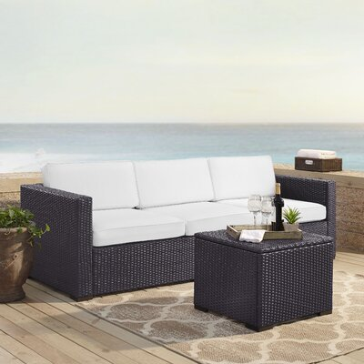 Dinah 3 Person Outdoor Wicker 3 Piece Deep Seating Group with Cushion Fabric: White