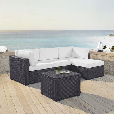 Dinah 4 Person Outdoor Wicker 4 Piece Sectional Seating Group with Cushion Fabric: White