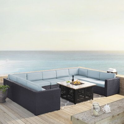 Dinah 9 Person Outdoor Wicker 6 Piece Sectional Seating Group with Cushion Fabric: Mist
