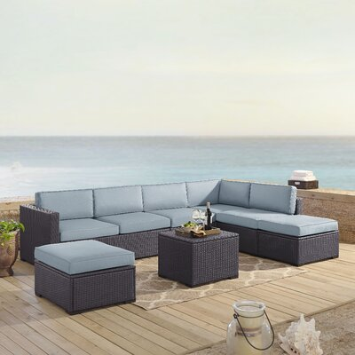 Dinah 7 Person Outdoor Wicker 6 Piece Sectional Seating Group with Cushion Fabric: Mist
