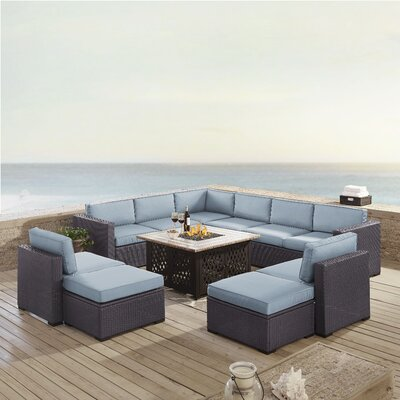 Dinah 10 Person Outdoor Wicker 8 Piece Sectional Seating Group with Cushion Fabric: Mist