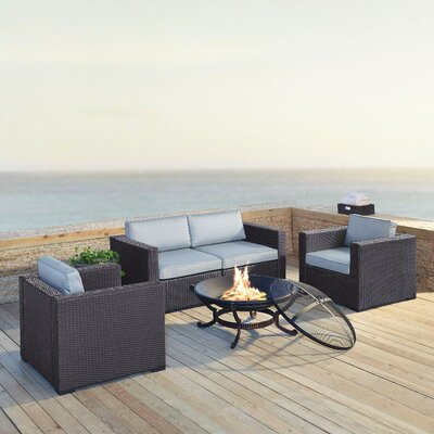 Dinah 4 Person Outdoor Wicker 5 Piece Steel Framed Deep Seating Group with Cushion Fabric: Mist