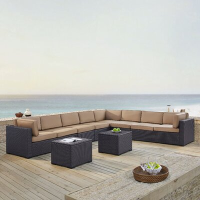 Dinah 8 Person Outdoor Wicker 6 Piece Sectional Seating Group with Cushion Fabric: Mocha