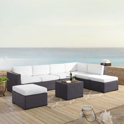 Dinah 7 Person Outdoor Wicker 6 Piece Sectional Seating Group with Cushion Fabric: White