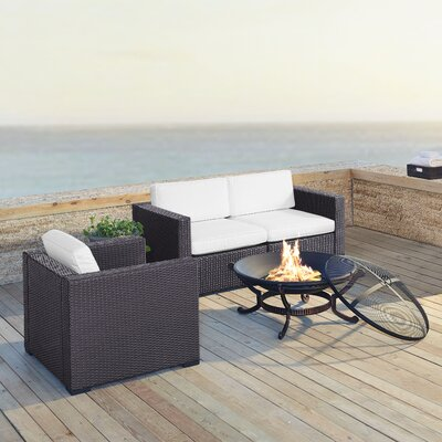 Dinah 3 Person Outdoor Wicker 4 Piece Deep Seating Group with Cushion Fabric: White