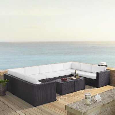 Dinah 9 Person Outdoor Wicker 7 Piece Steel Framed Sectional Seating Group with Cushion Fabric: White