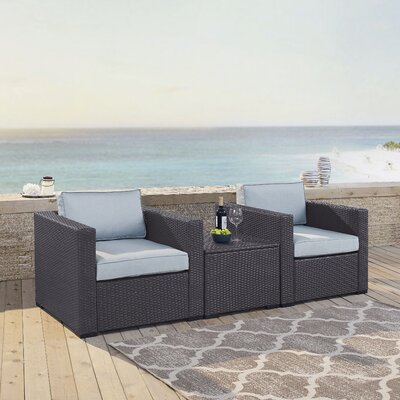 Dinah 2 Person Outdoor Wicker 3 Piece Deep Seating Group with Cushion Fabric: Mist