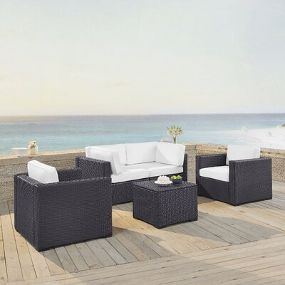 Dinah 4 Person Outdoor Wicker 5 Piece Sectional Seating Group with Cushion Fabric: White