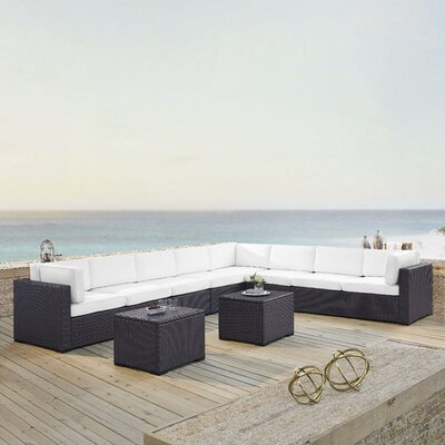 Dinah 8 Person Outdoor Wicker 6 Piece Sectional Seating Group with Cushion Fabric: White