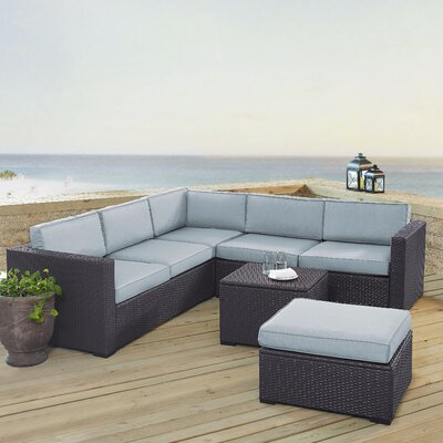 Dinah 6 Person Outdoor Wicker 5 Piece Sectional Seating Group with Cushion Fabric: Mist