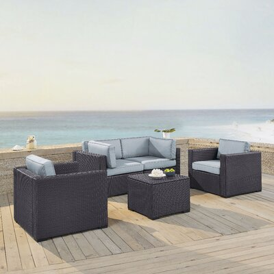 Dinah 4 Person Outdoor Wicker 5 Piece Sectional Seating Group with Cushion Fabric: Mist