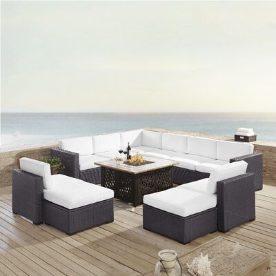 Dinah 10 Person Outdoor Wicker 8 Piece Sectional Seating Group with Cushion Fabric: White