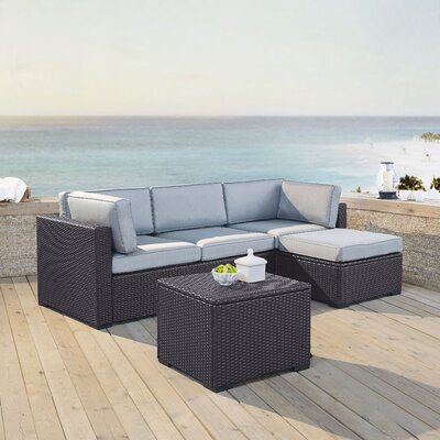 Dinah 4 Person Outdoor Wicker 4 Piece Sectional Seating Group with Cushion Fabric: Mist