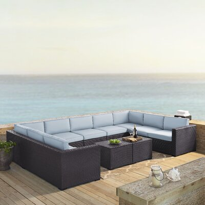 Dinah 9 Person Outdoor Wicker 7 Piece Steel Framed Sectional Seating Group with Cushion Fabric: Mist