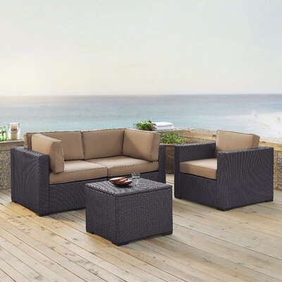 Dinah 3 Person Outdoor Wicker 4 Piece Sectional Seating Group with Cushion Fabric: Mocha