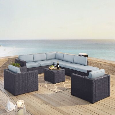 Dinah 8 Person Outdoor Wicker 7 Piece Sectional Seating Group with Cushion Fabric: Mist