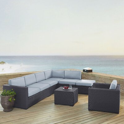 Dinah 7 Person Outdoor Wicker 6 Piece Steel Framed Sectional Seating Group with Cushion Fabric: Mist