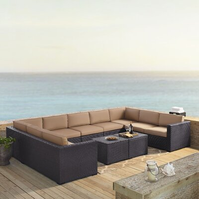 Dinah 9 Person Outdoor Wicker 7 Piece Steel Framed Sectional Seating Group with Cushion Fabric: Mocha