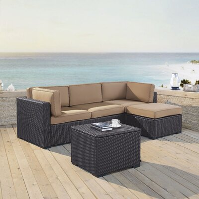 Dinah 4 Person Outdoor Wicker 4 Piece Sectional Seating Group with Cushion Fabric: Mocha