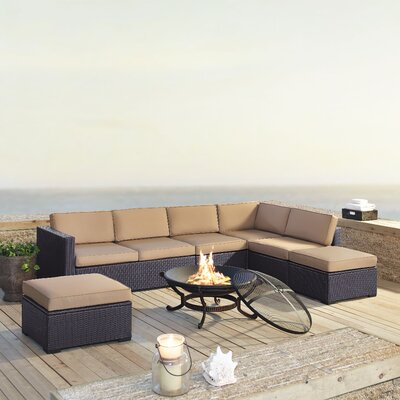 Dinah 7 Person Outdoor Wicker 6 Piece Deep Seating Group with Cushion Fabric: Mocha