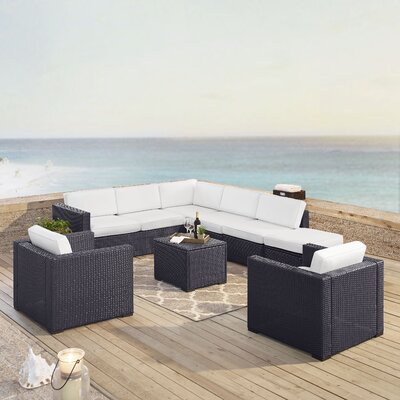 Dinah 8 Person Outdoor Wicker 7 Piece Sectional Seating Group with Cushion Fabric: White
