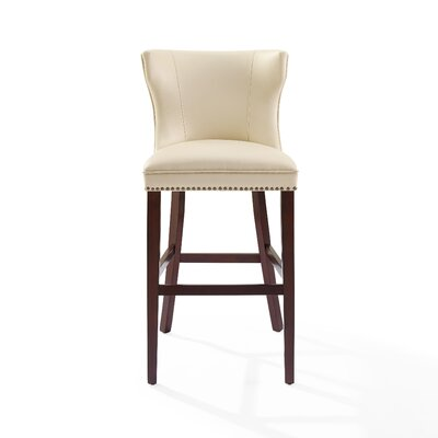 Dace Hardwood Frame Bar Stool Color: Mahogany/Cr�me