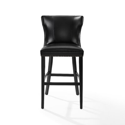 Dace Hardwood Frame Bar Stool Color: Black