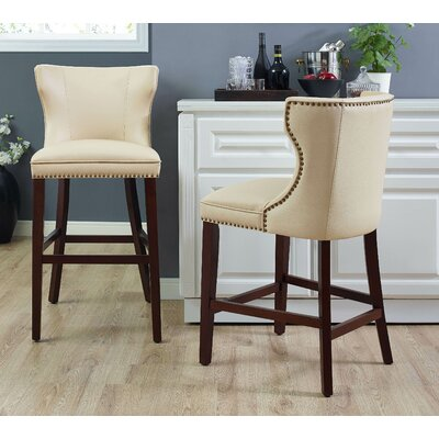 Dace Bar Stool Color: Mahogany/Cr�me