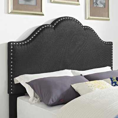 Hagler Upholstered Panel Headboard Size: Full, Upholstered: Charcoal Linen