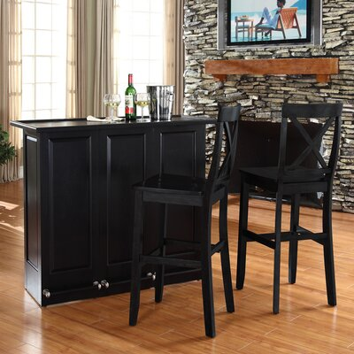 Bar Set with Wine Storage Finish: Black