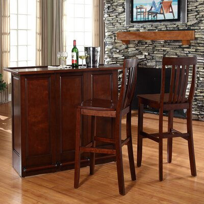 Bar Set with Wine Storage Color: Vintage Mahogany
