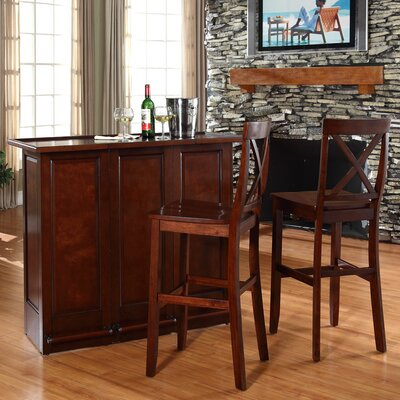 Bar Set with Wine Storage Finish: Vintage Mahogany