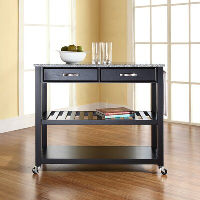 Kitchen Island with Granite Top Frame Finish: Black